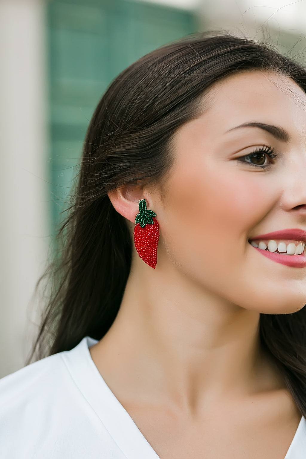 chili pepper beaded earrings