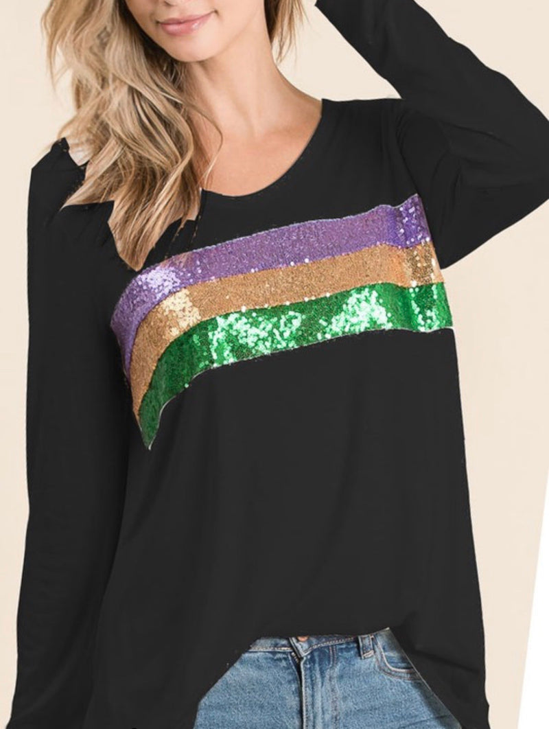 sequin stripes mardi gras top (black) - Marcella