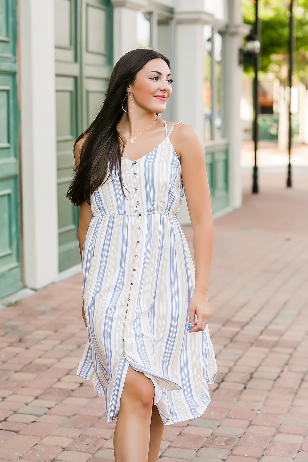 sail away with me striped midi dress