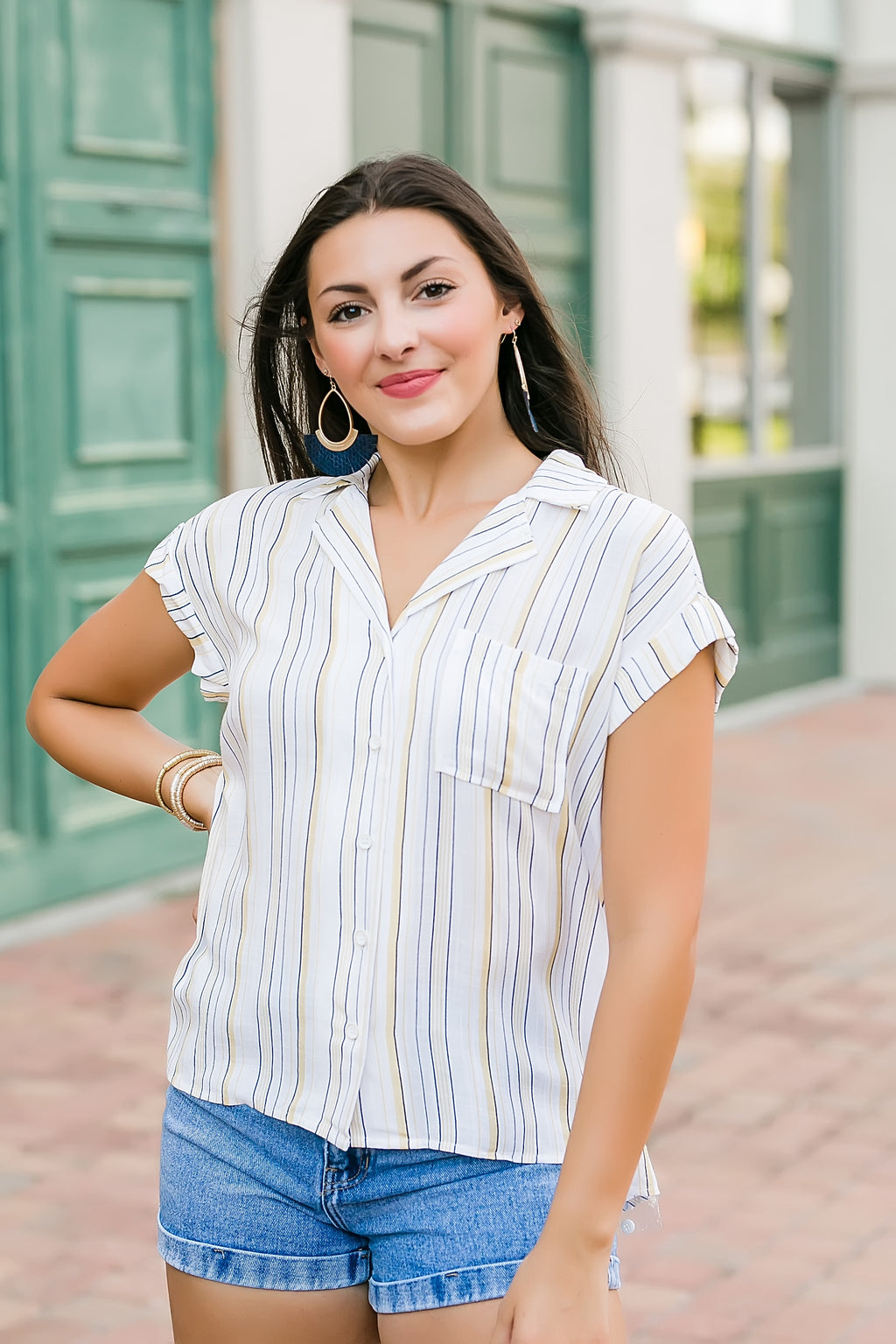 cabana please striped button down top