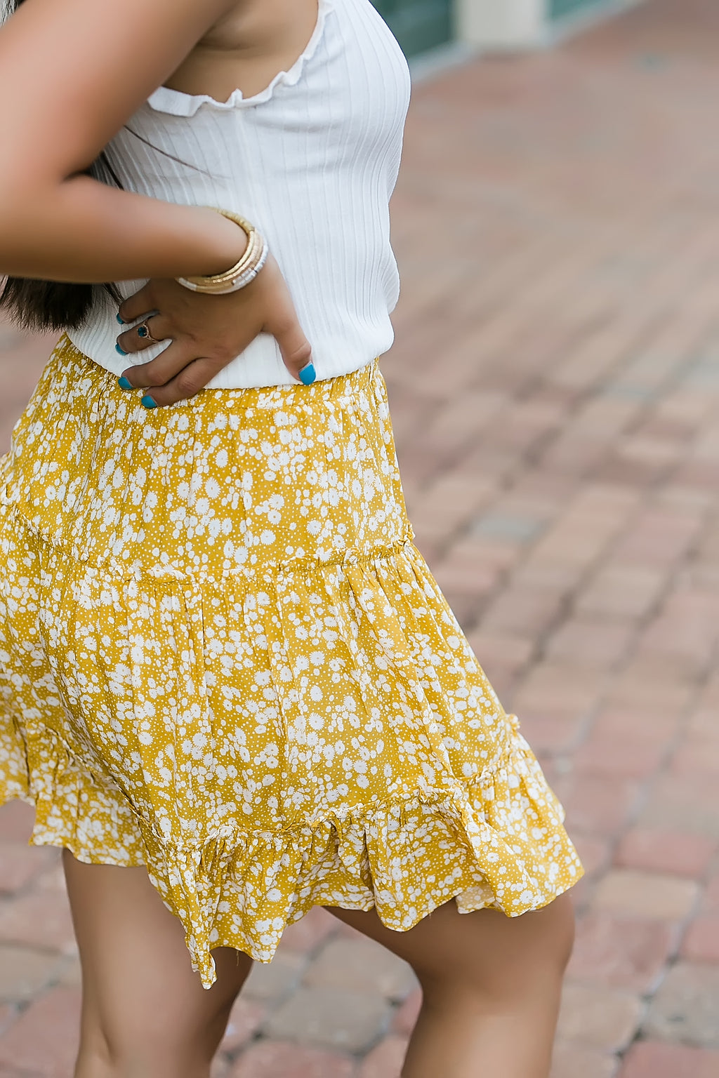 flower field tiered ruffle skirt