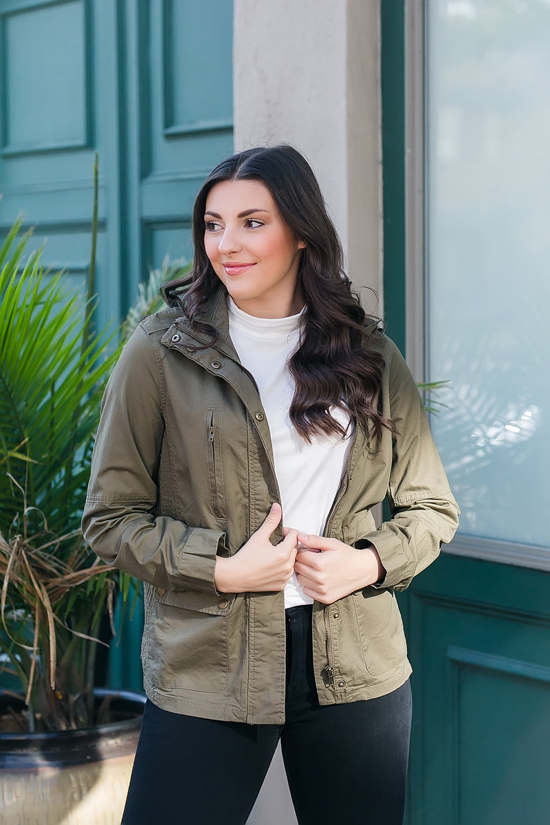 olive you more utility jacket