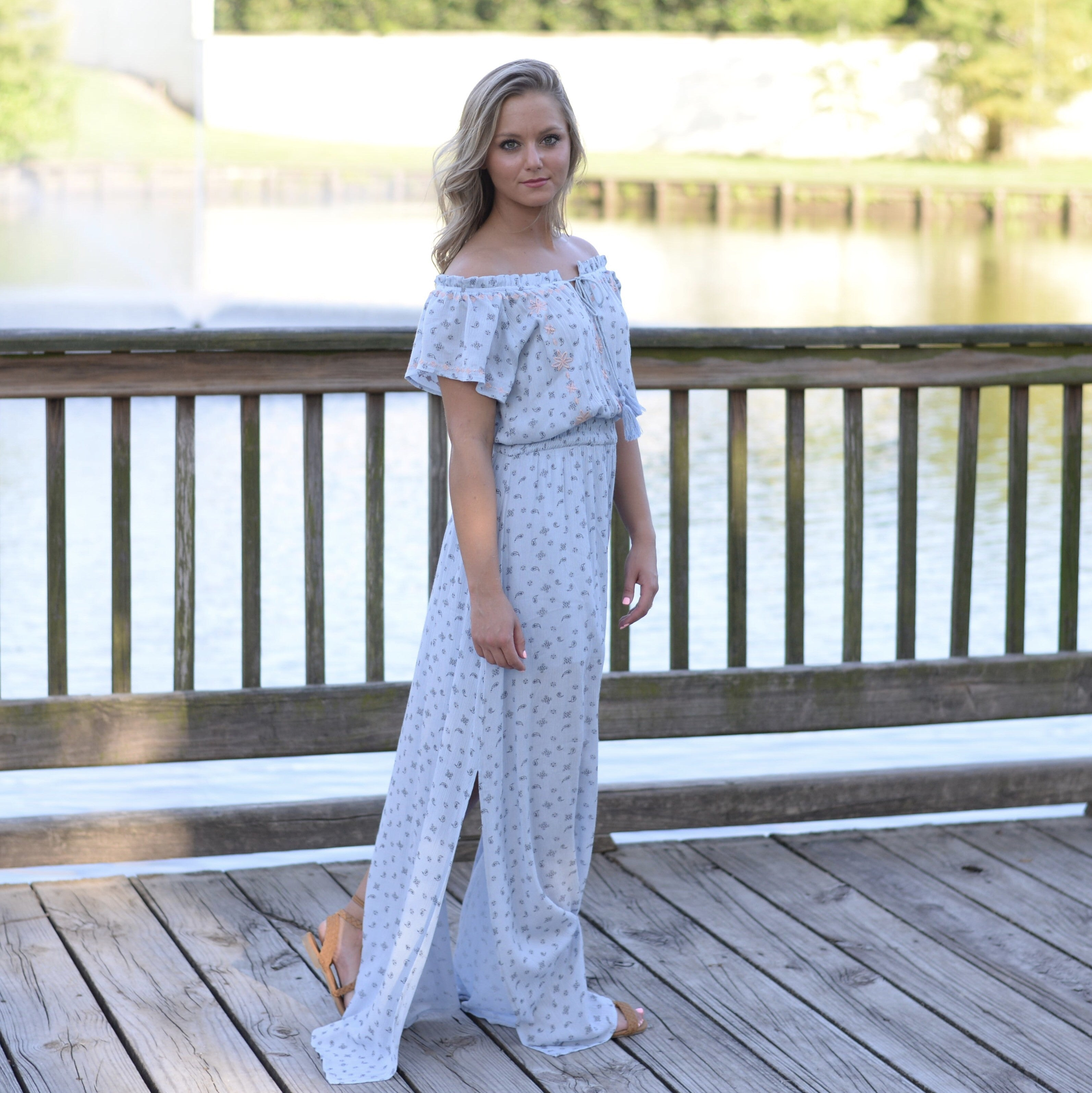 Aurora off the shoulder maxi