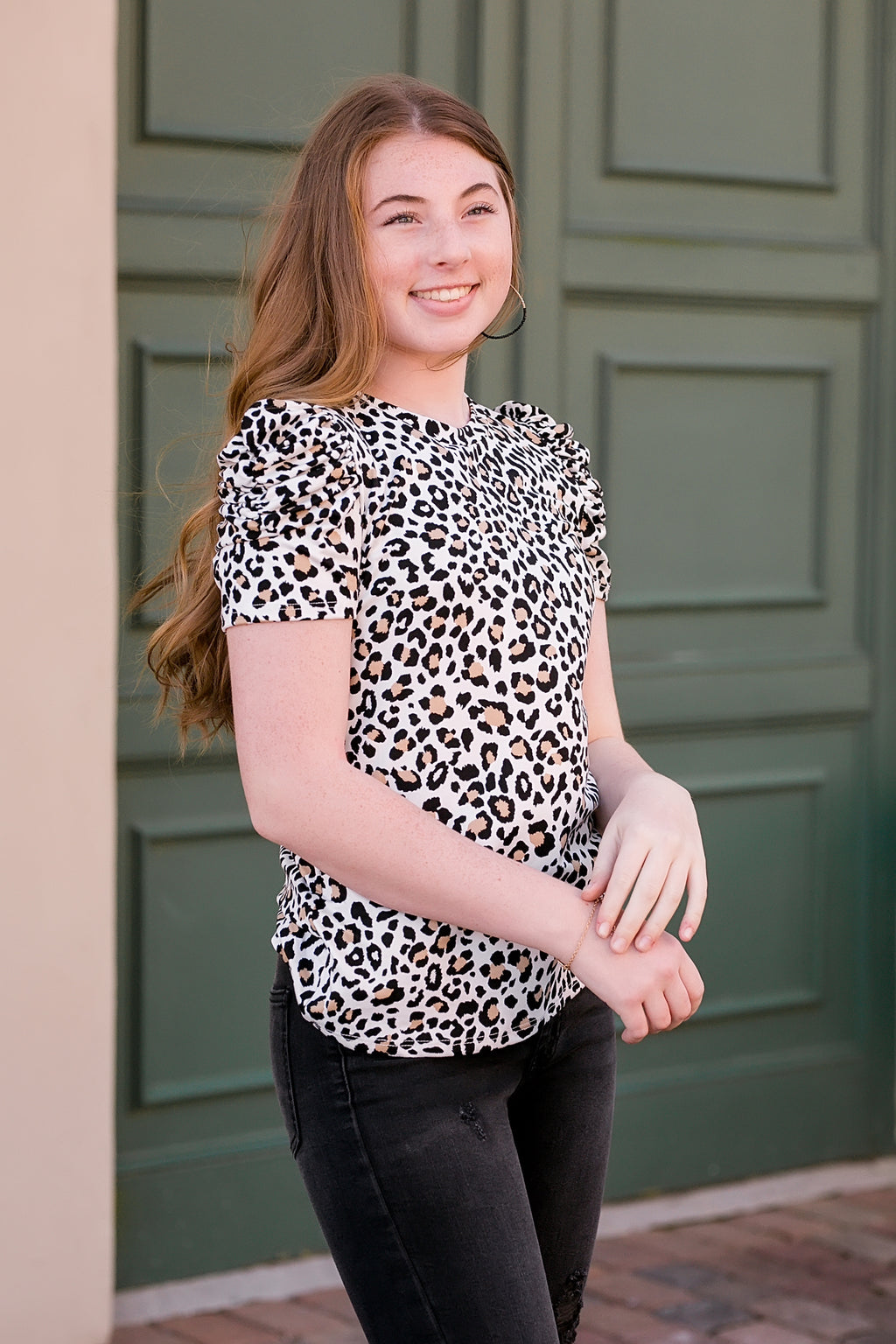 wild child leopard print ruched sleeve top