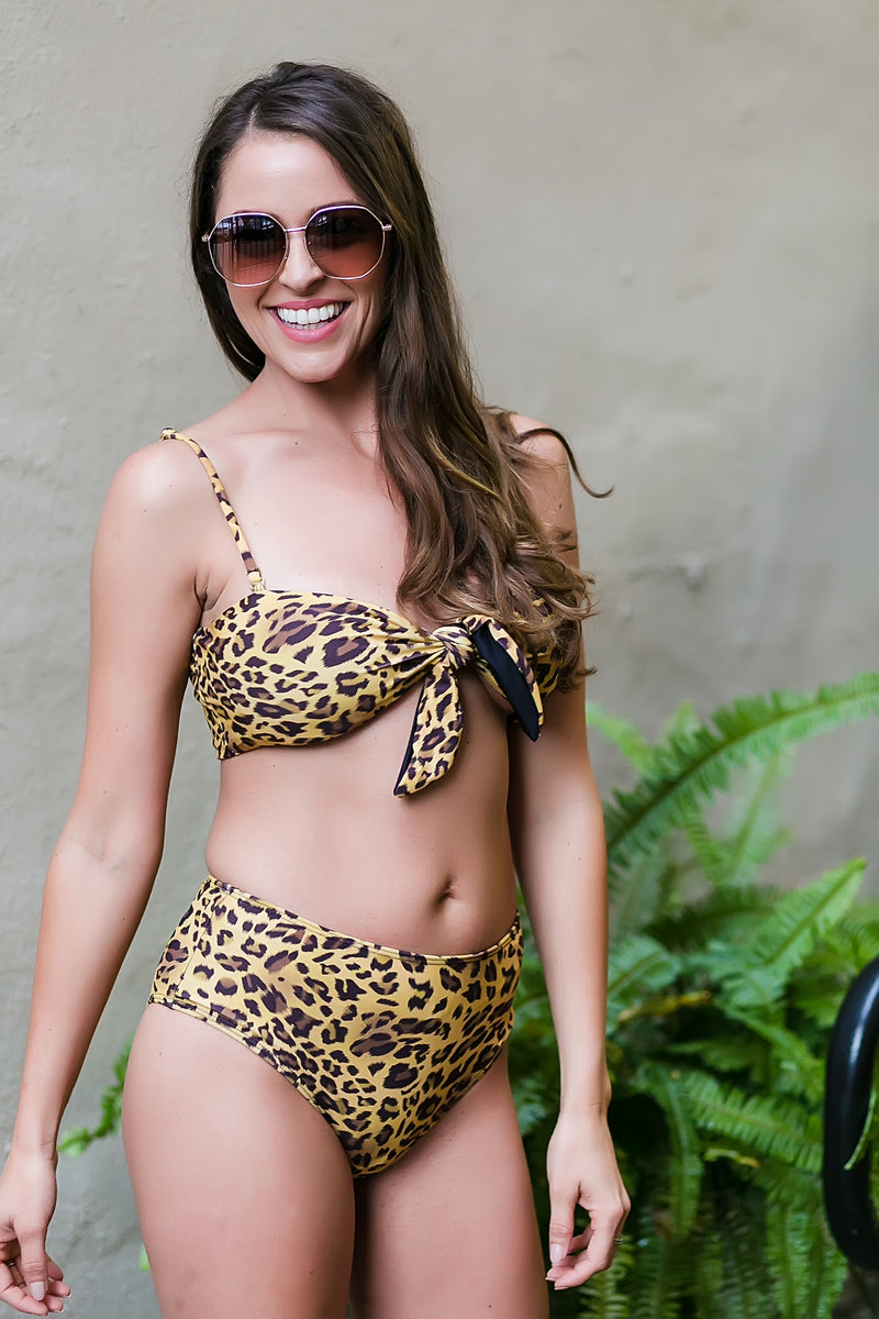 living la vida leopard high waist swim suit bottom