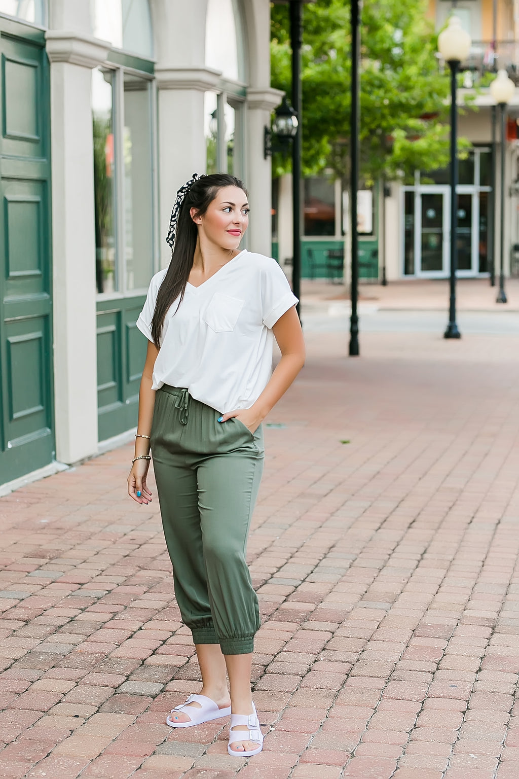 out and about joggers (olive)