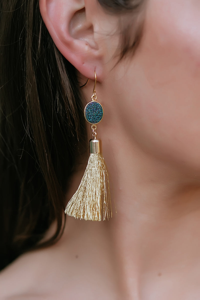 gold tassel earrings - Marcella