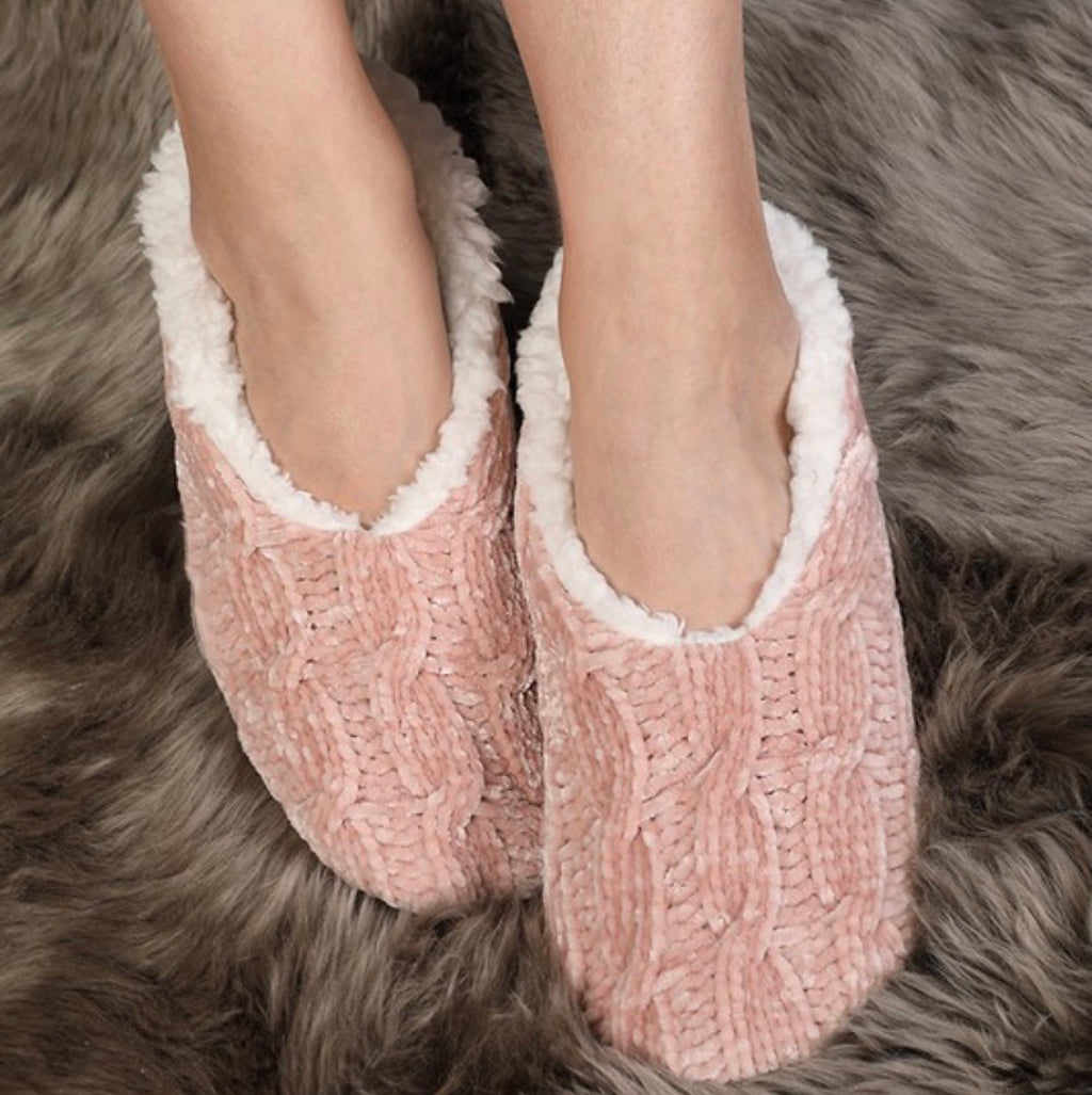 Cable knit chenille slippers