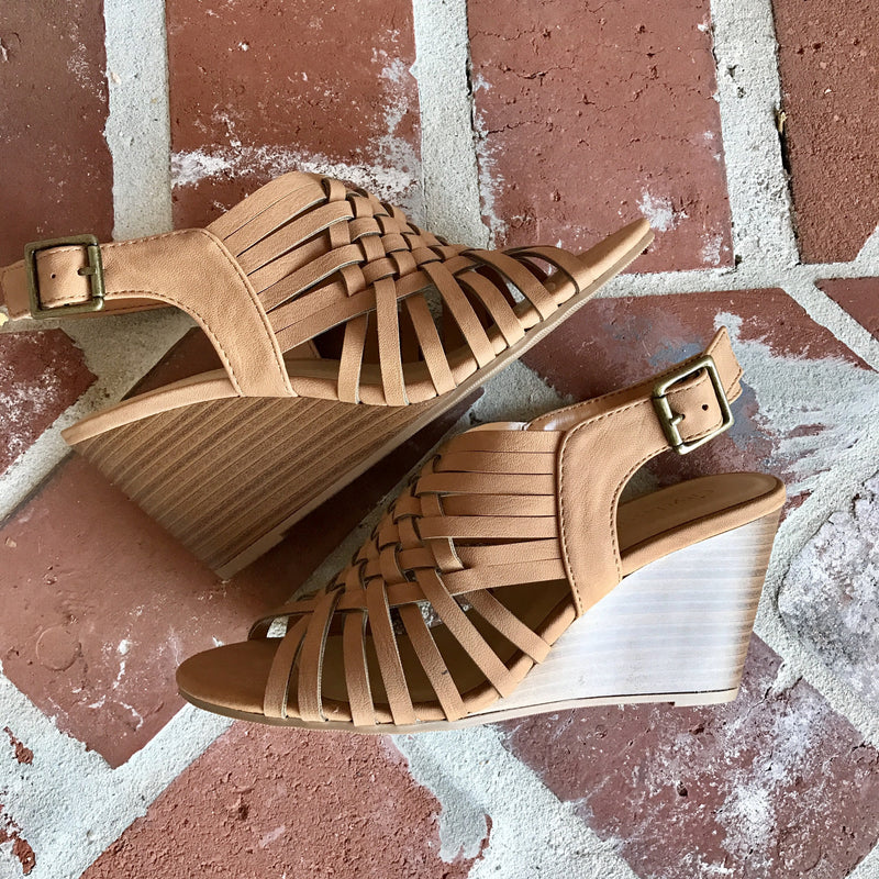 Criss Cross Wedges (tan) - Marcella