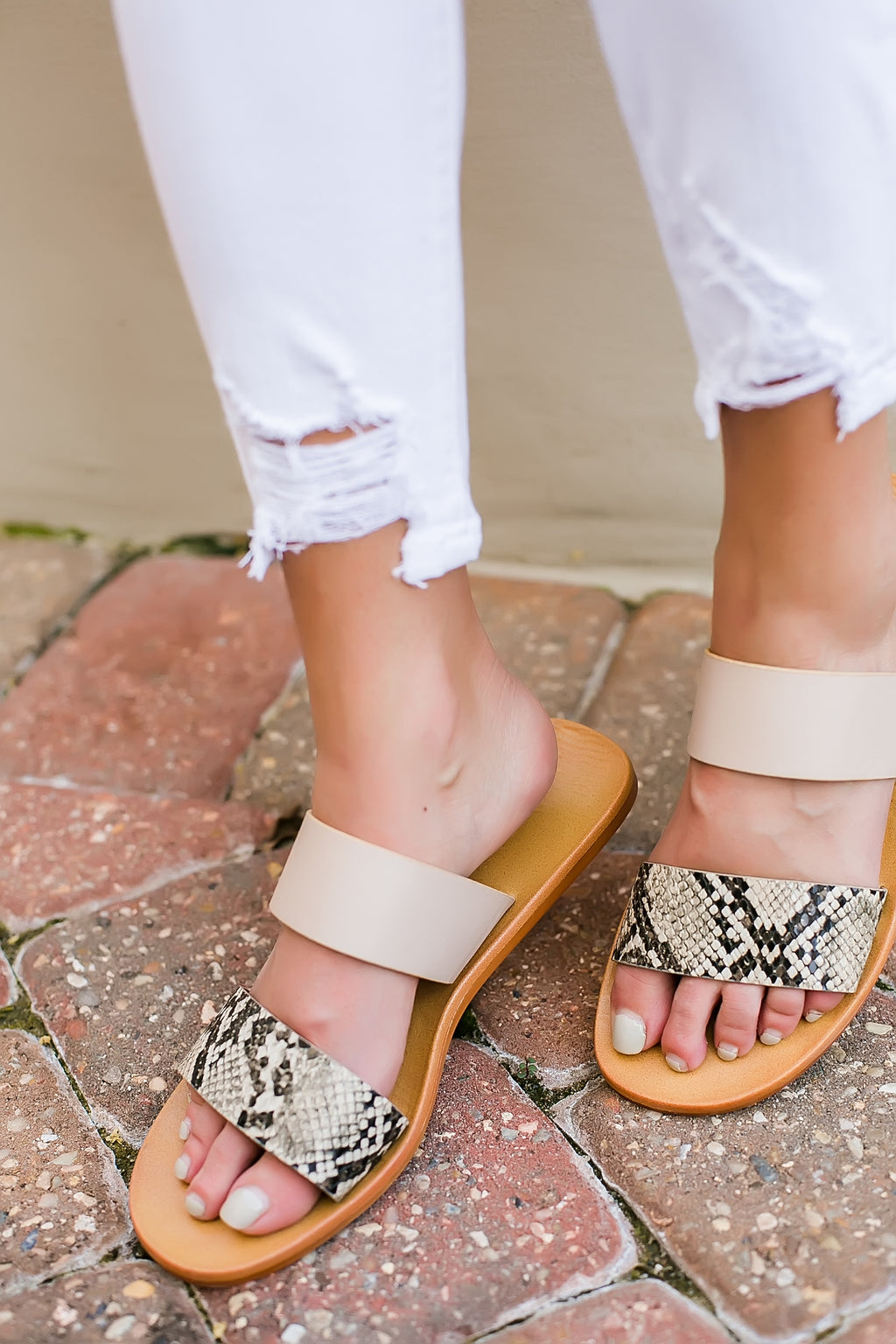 snake and beige double strap sandal