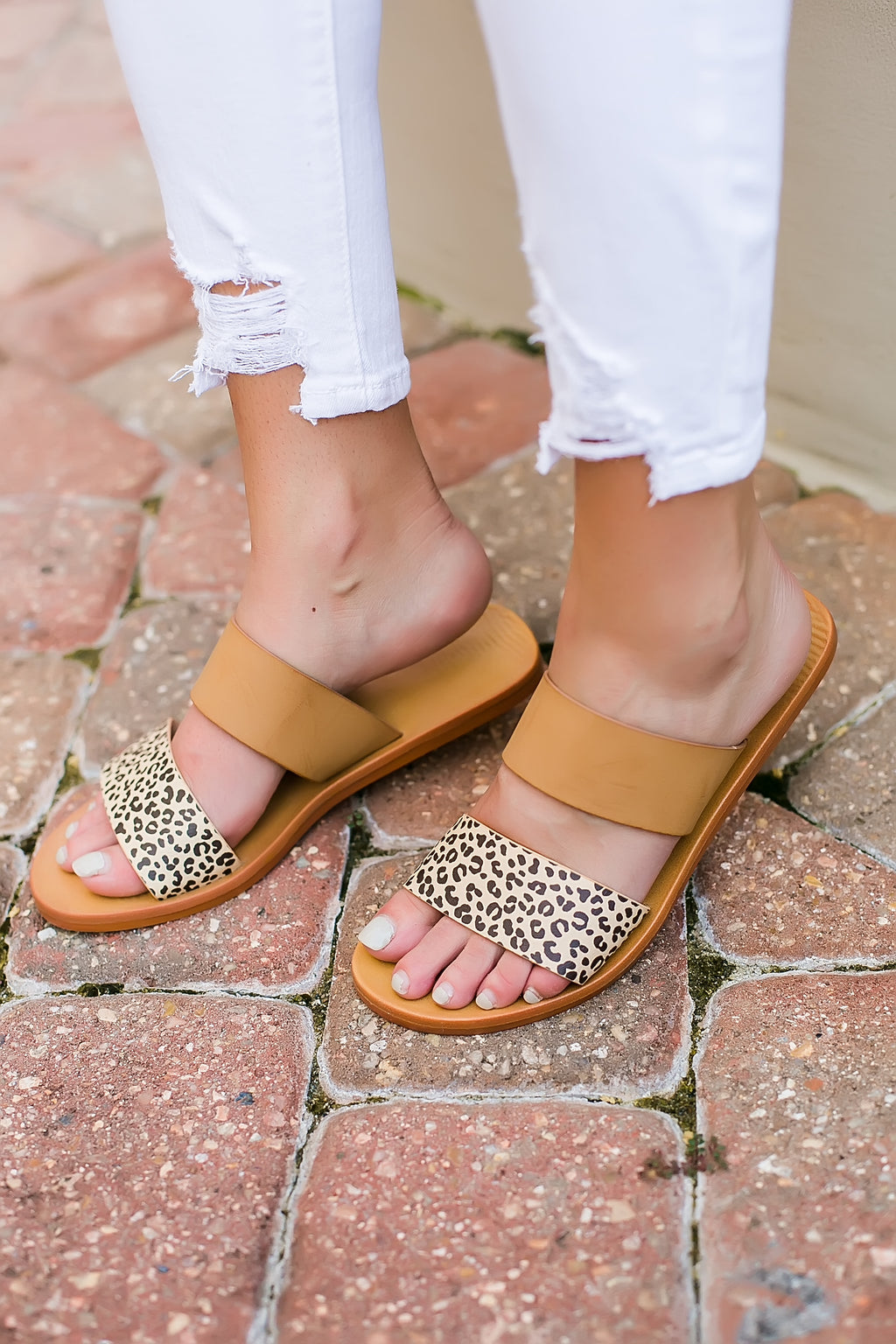 cheetah and tan double strap sandal