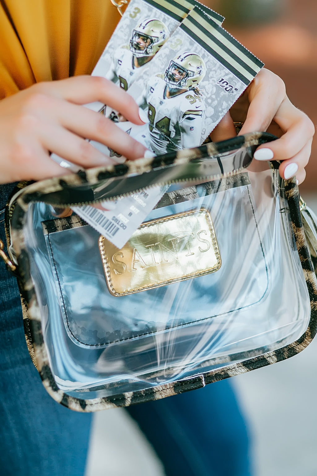 Clear Saints Game Day Bag - Marcella