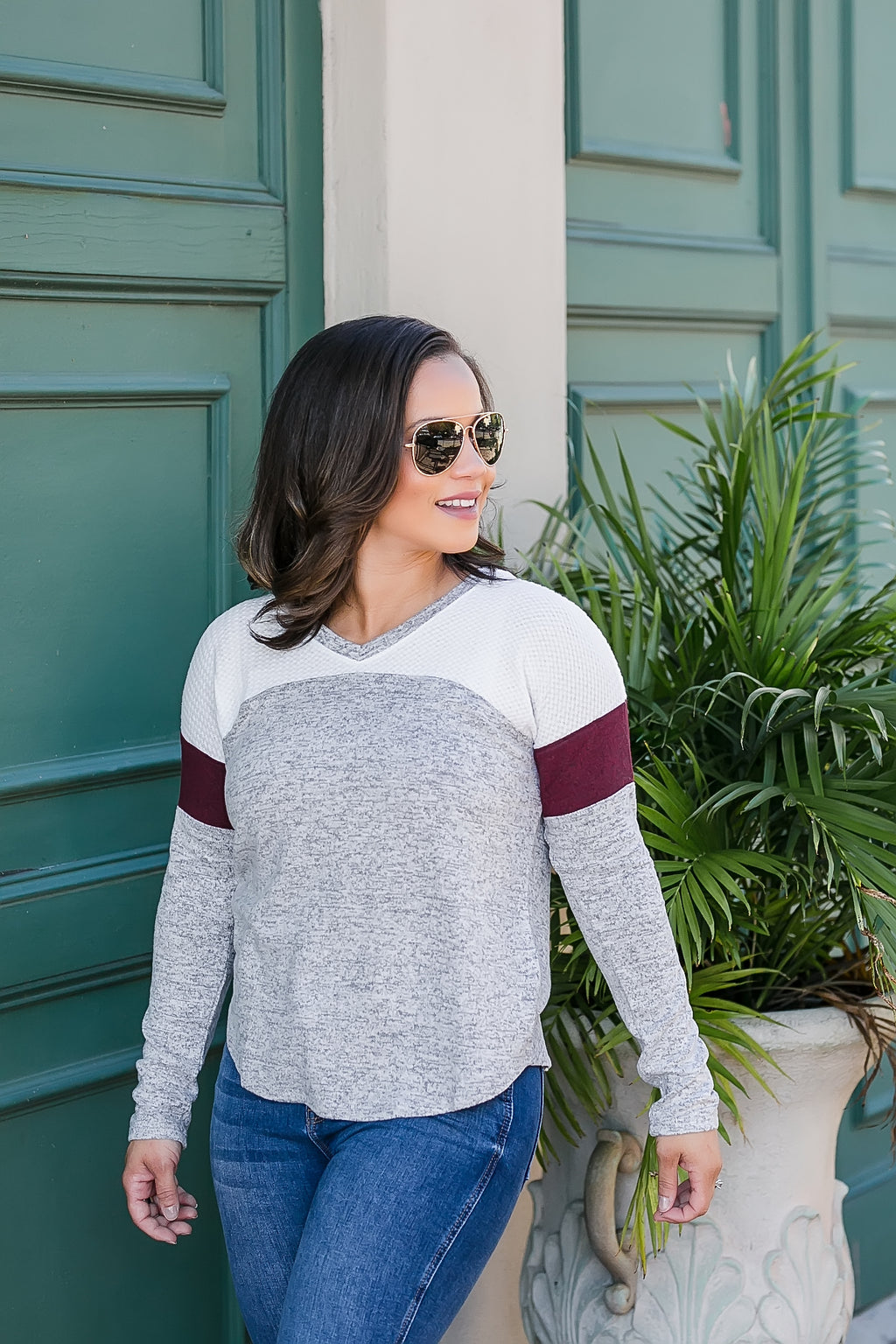 so cozy color block top