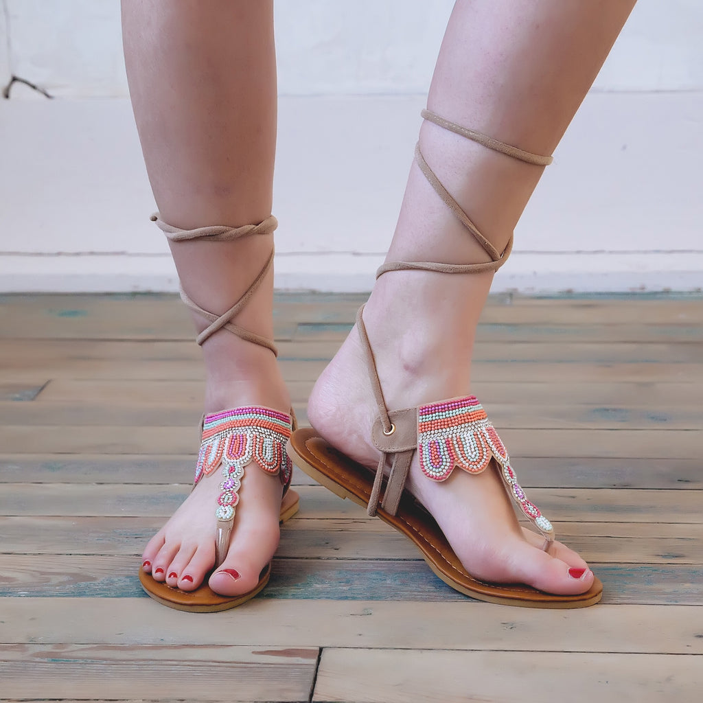 Lace up beaded sandal