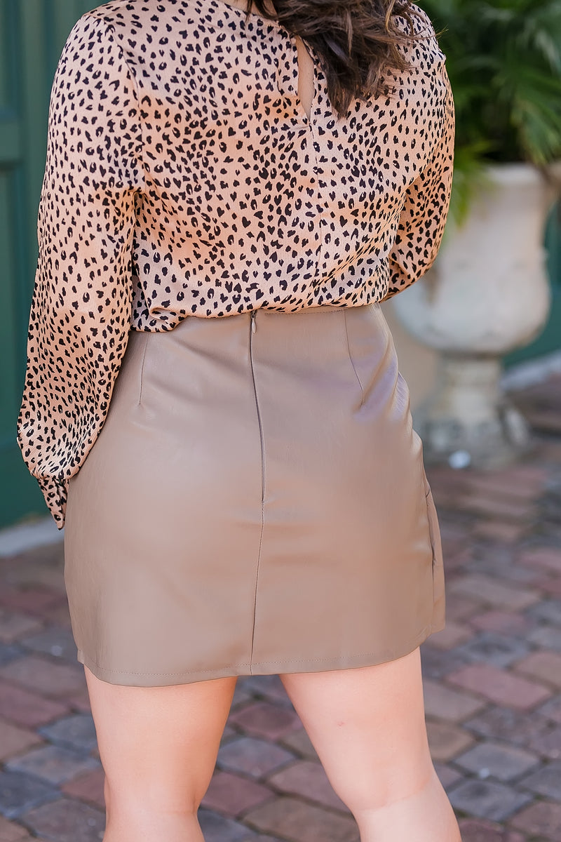 own the night faux leather skirt