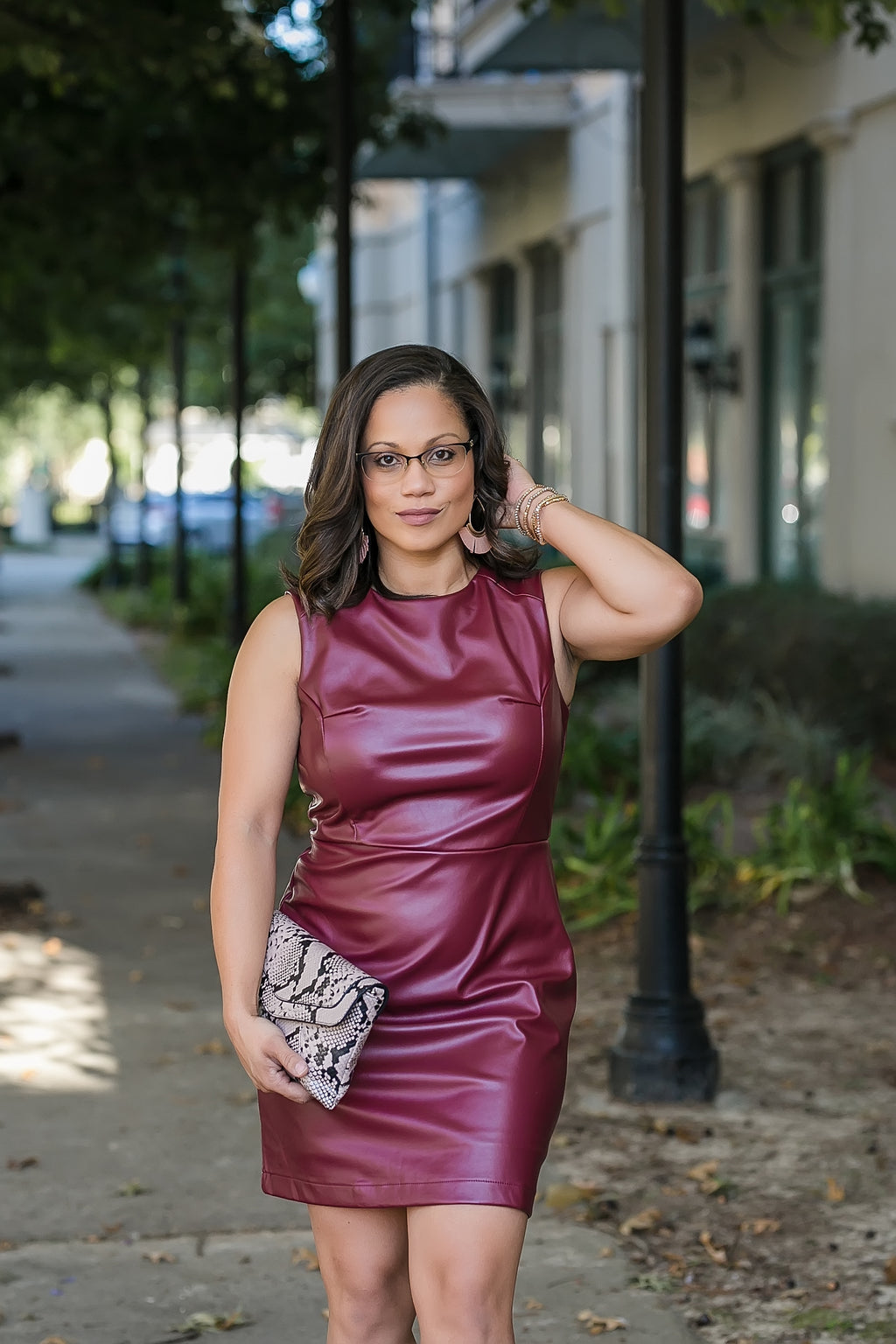 Luxe Cabernet Faux Leather Dress