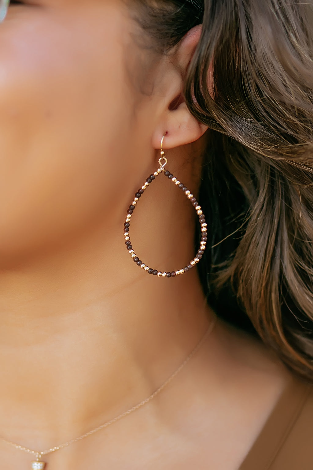 brown and gold beaded teardrop - Marcella