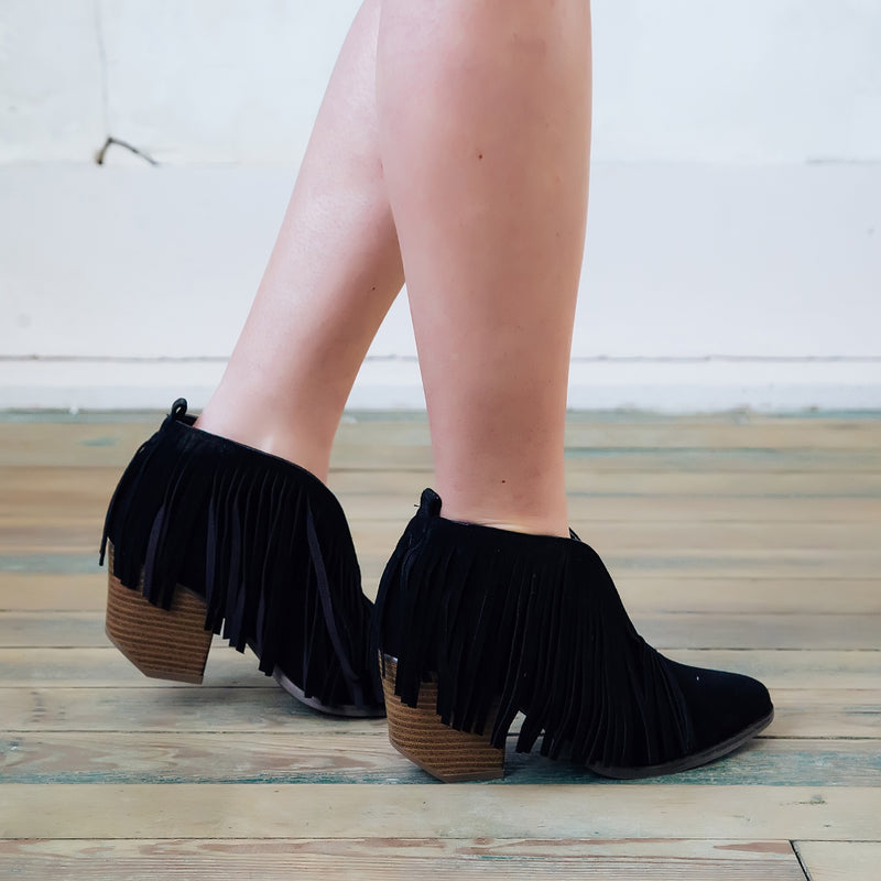 Fringe booties (black) - Marcella