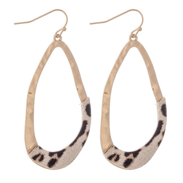 textured light leopard  and gold earrings