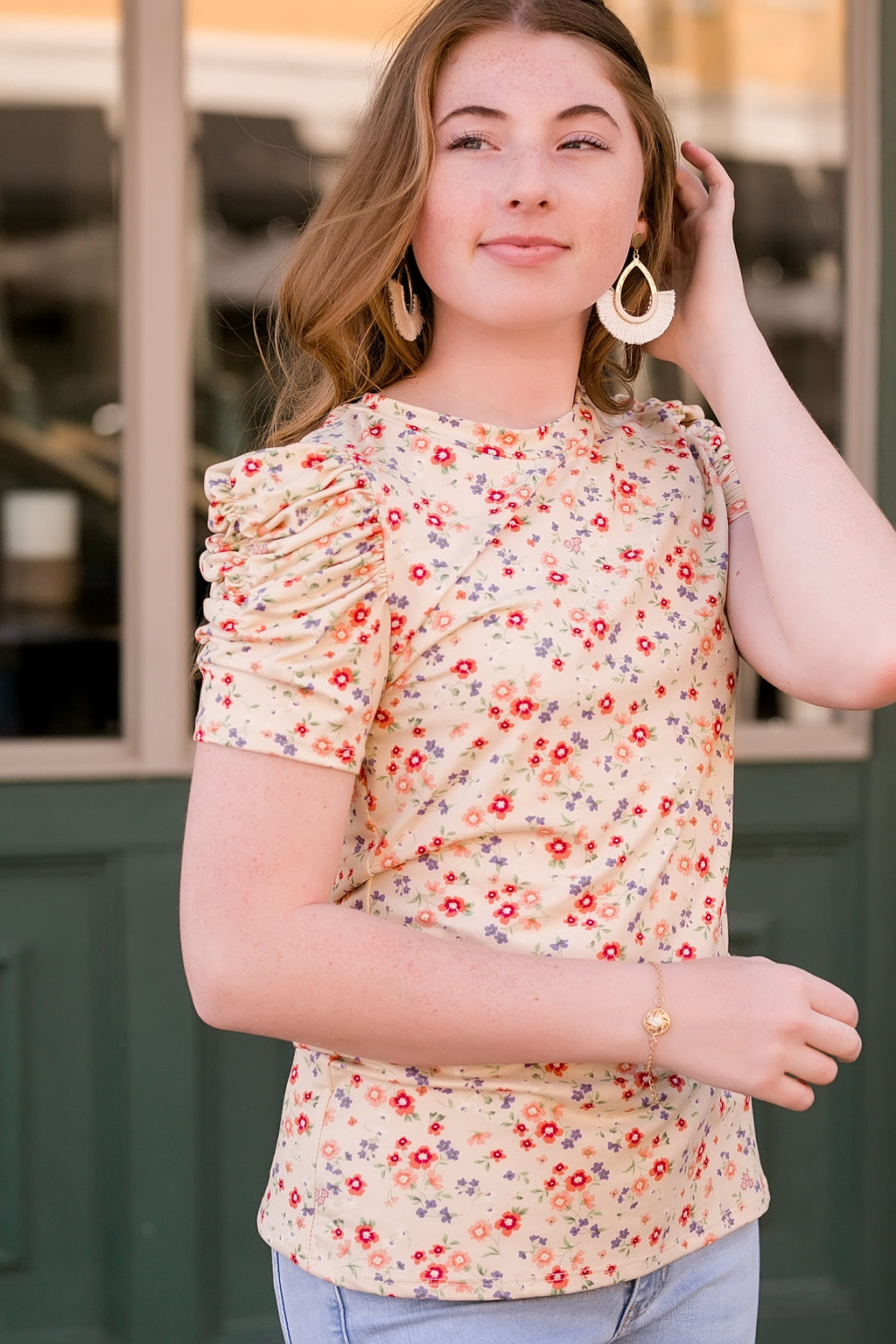 sunshine bouquet floral ruched sleeve top