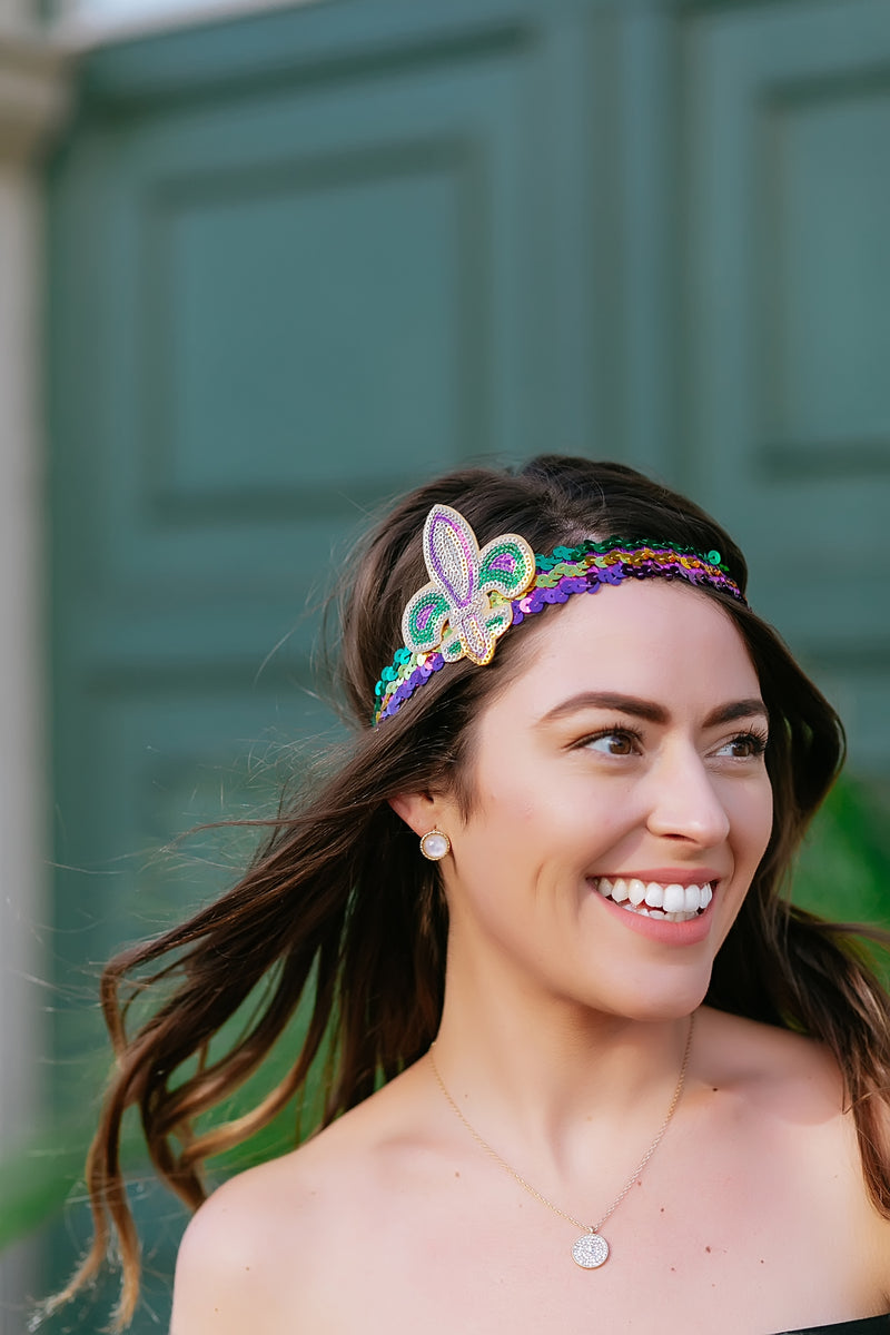 Mardi Gras Sequin Headband - Marcella