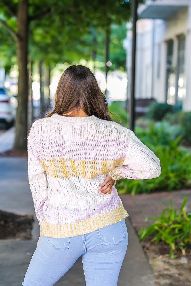 On a lighter note color block sweater