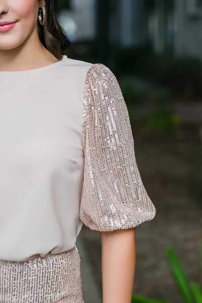pop the champagne sequin sleeve top