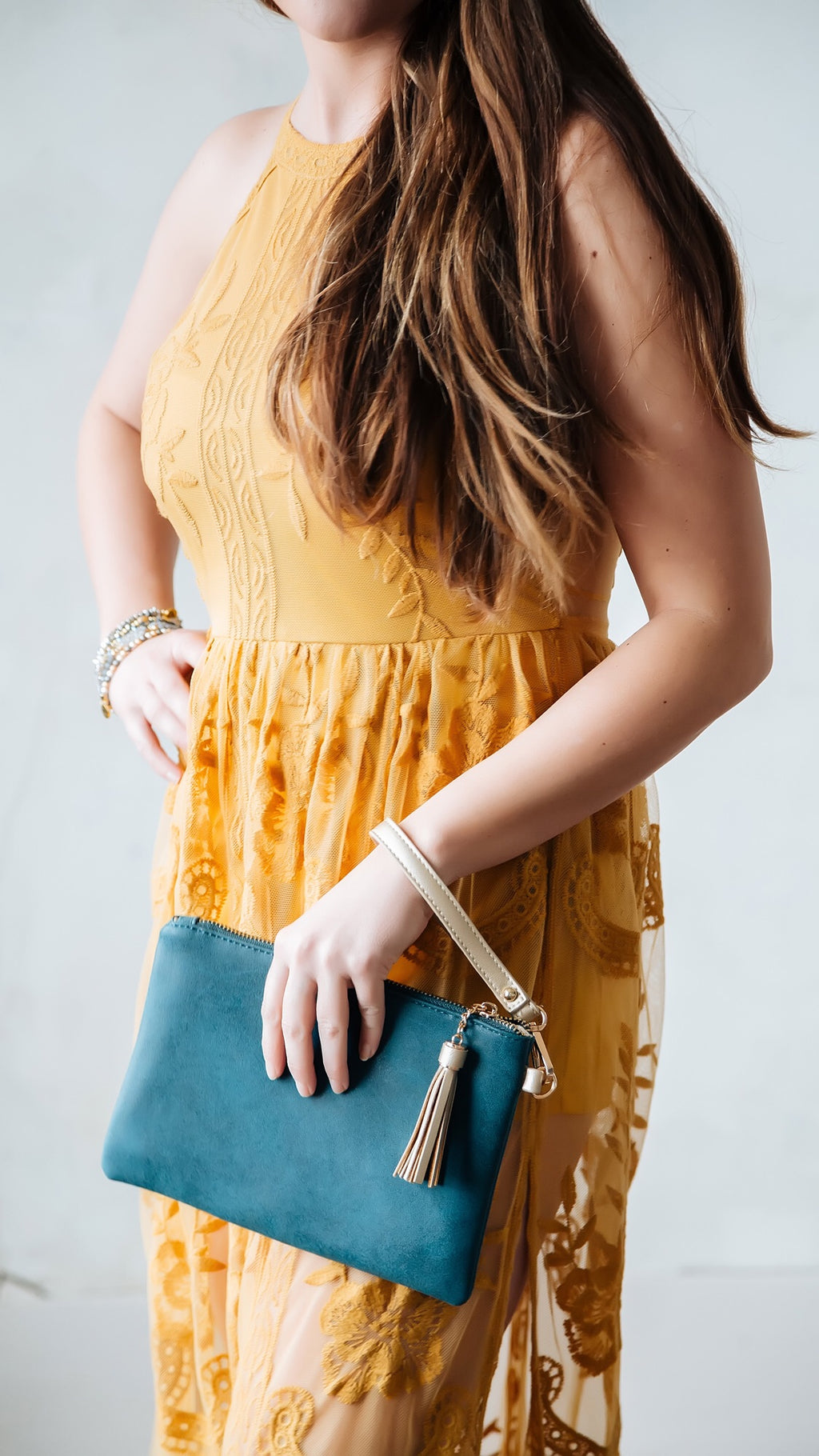 Touch of teal wristlet - Marcella