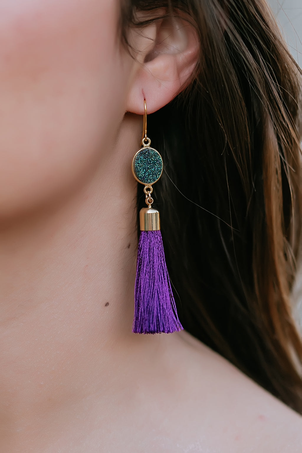purple tassel earrings - Marcella