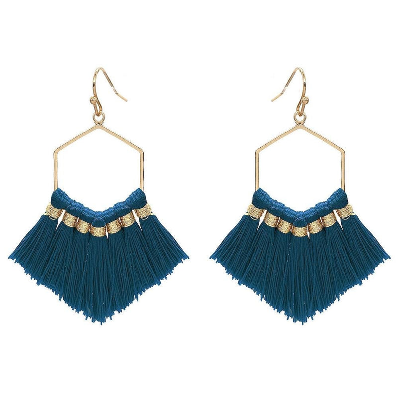 Fringe hexagon earrings (teal)