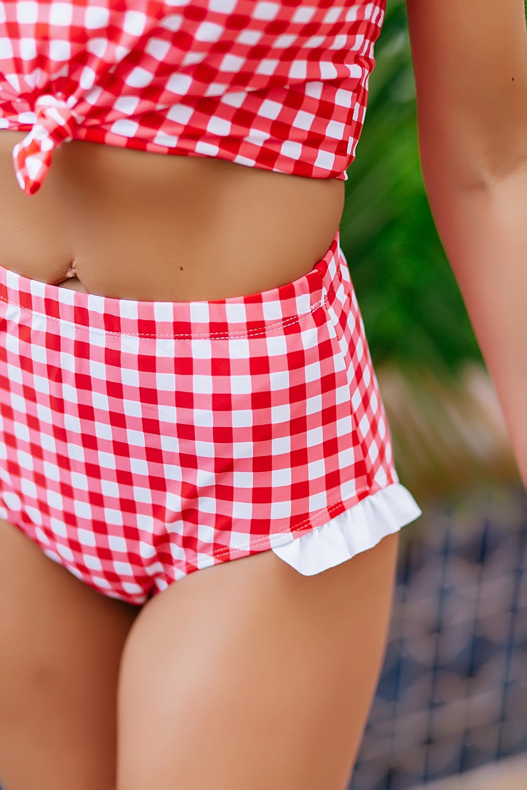 gingham and ruffle swim bottom - Marcella