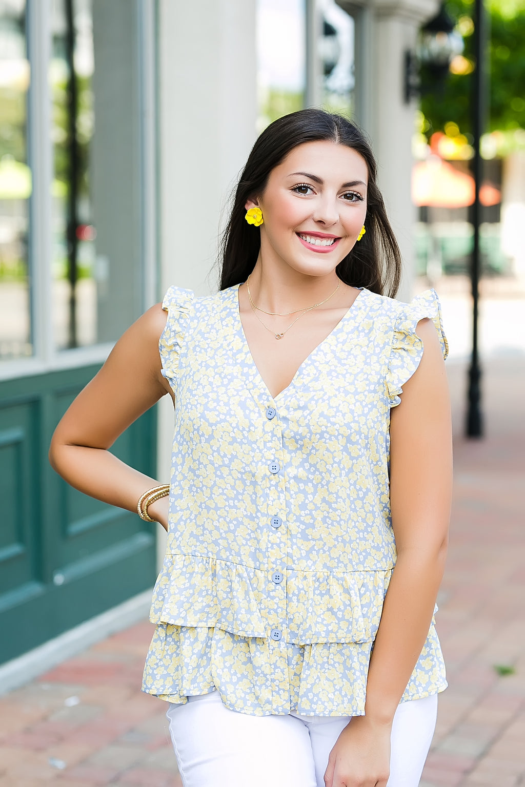 southern charm floral tiered top