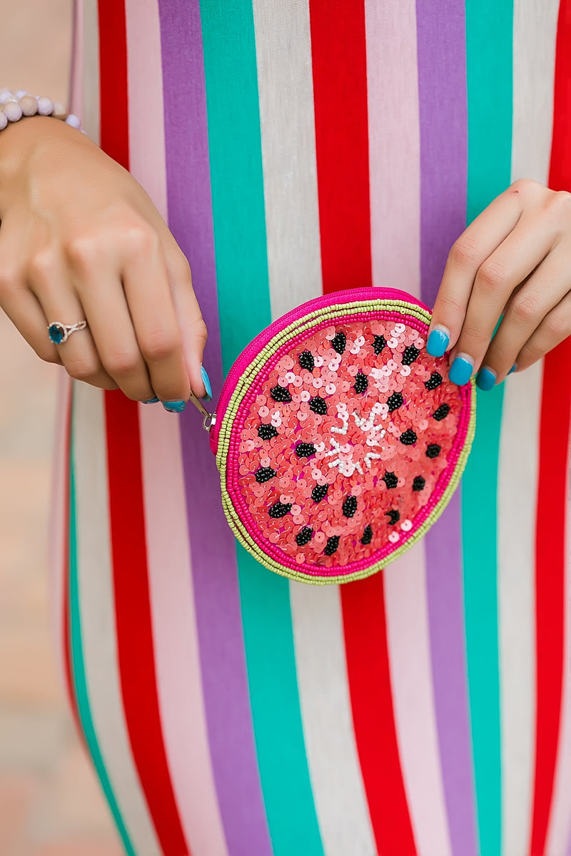 watermelon beaded pouch