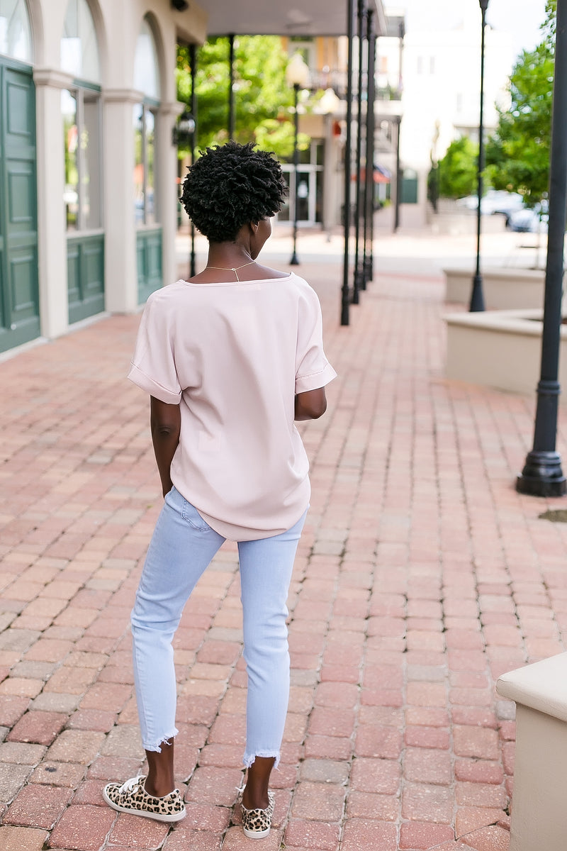 The dressier side solid v neck blouse (dusty blush)