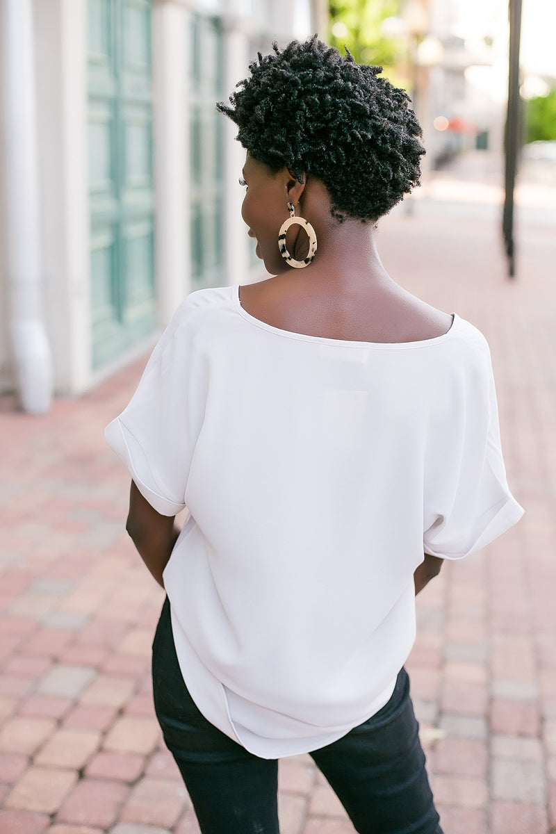 The dressier side solid v neck blouse (bone)