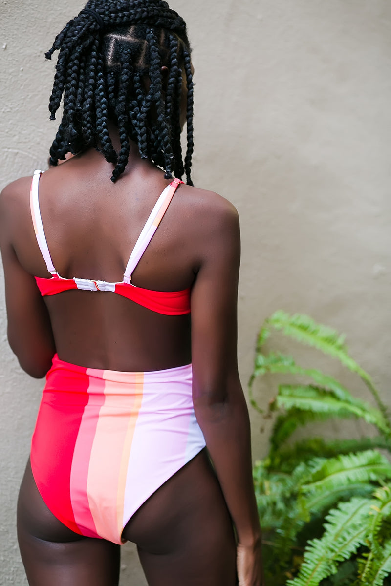 shades of sorbet striped high waist swim suit bottom