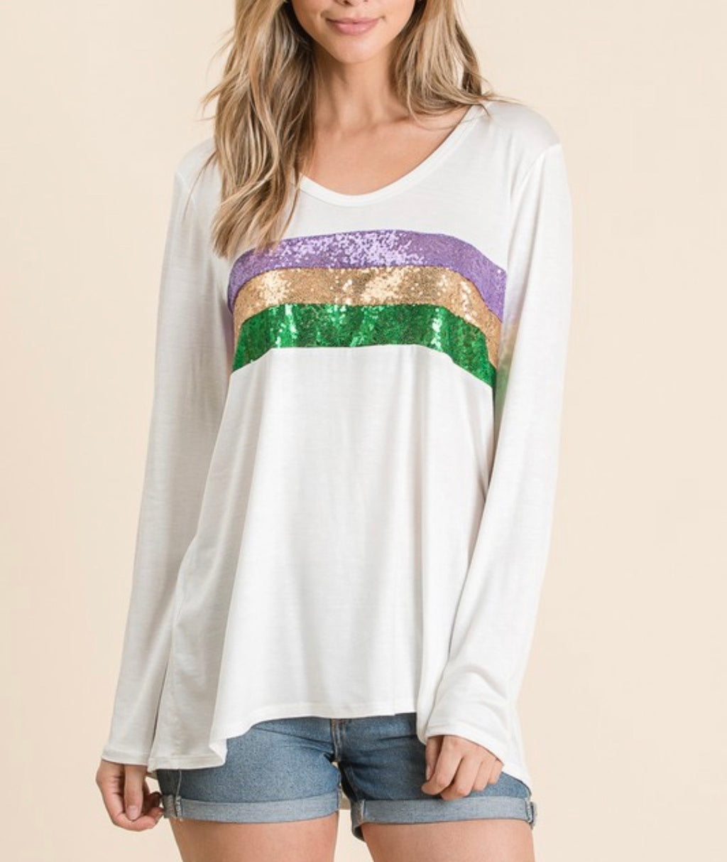 sequin stripes mardi gras top (ivory) - Marcella
