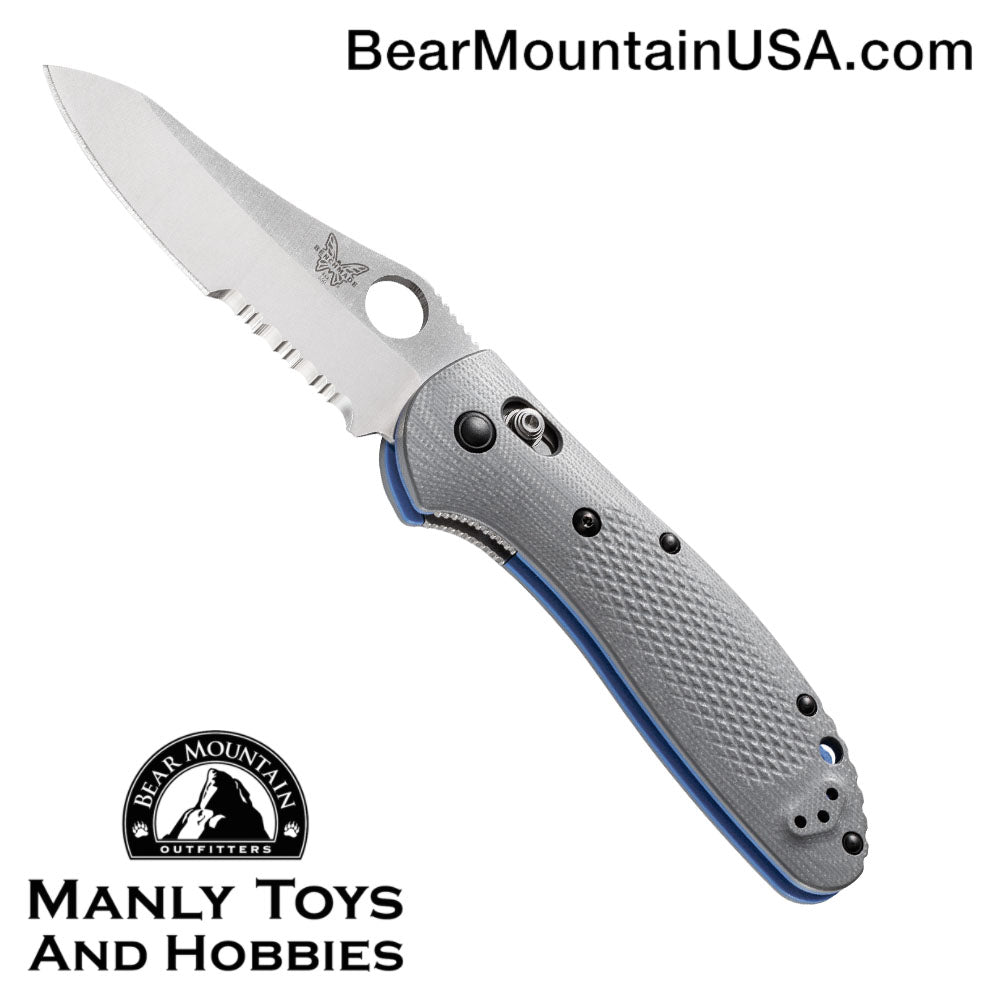 "Benchmade Griptilian AXIS Lock Knife Gray/Blue G-10 (3.45"" Satin Serr) 550S-1"