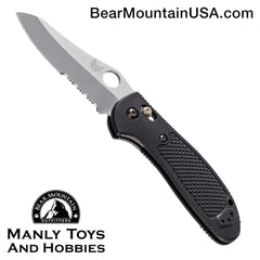 "Benchmade Griptilian AXIS Lock Knife Black (3.45"" Satin Serr) 550SHG"