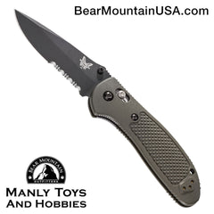 "Benchmade Griptilian AXIS Lock Knife Olive Drab (3.45"" Black Serr) 551SBKOD"