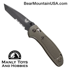 "Benchmade Griptilian AXIS Lock Knife Olive Drab (3.45"" Black Serr) 553SBKOD"