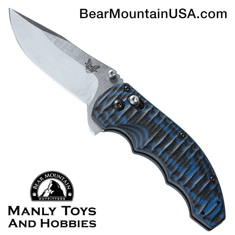 "Benchmade Ball Flipper Axis Lock Knife Black/Blue G-10 (3.18"" Satin) 300-1"