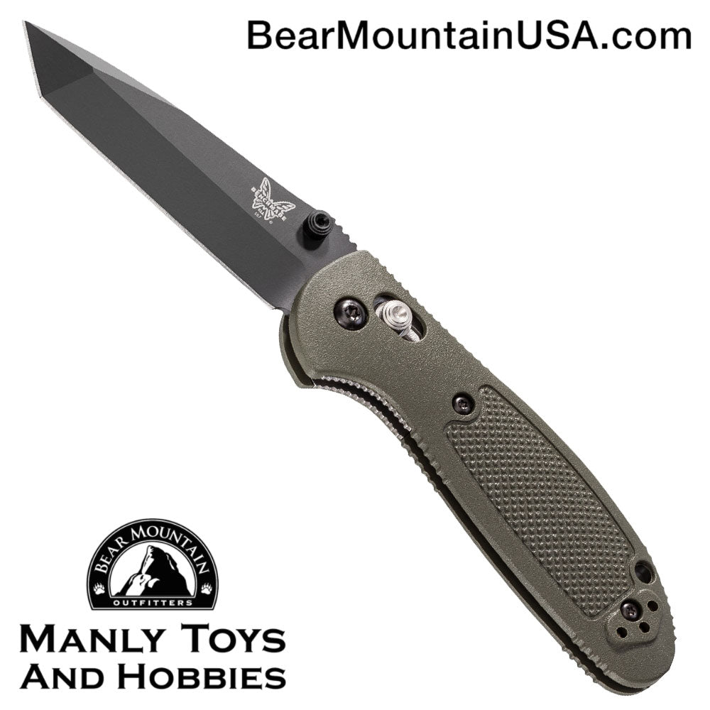 "Benchmade Mini Griptilian OD Green Tanto Knife (2.91"" Black) 557BKOD"