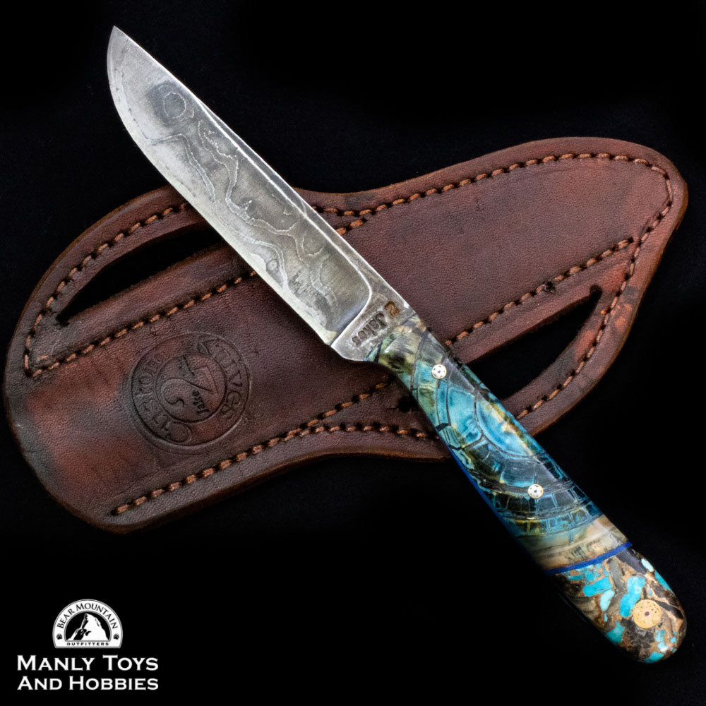 Jake2Jake #4282 Custom Hand Forged Damascus In Blue Mammoth Ivory,  Turquoise And Obsidian