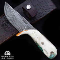 Jake2Jake #4251 Custom Hand Forged Damascus In Beaver Jaw And Turquoise Inlay