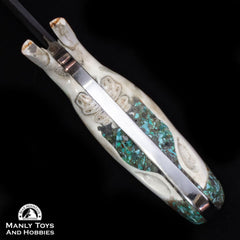 Jake2Jake #4251 Custom Hand Forged Damascus In Beaver Jaw And Turquoise Inlay3