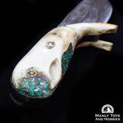 Jake2Jake #4251 Custom Hand Forged Damascus In Beaver Jaw And Turquoise Inlay5