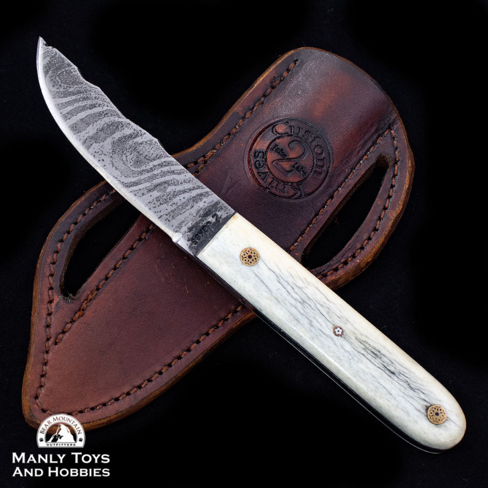 Jake2Jake #4090 Custom Hand Forged Damascus In Camel Bone