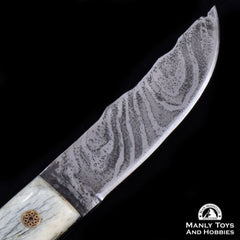 Jake2Jake #4090 Custom Hand Forged Damascus In Camel Bone7