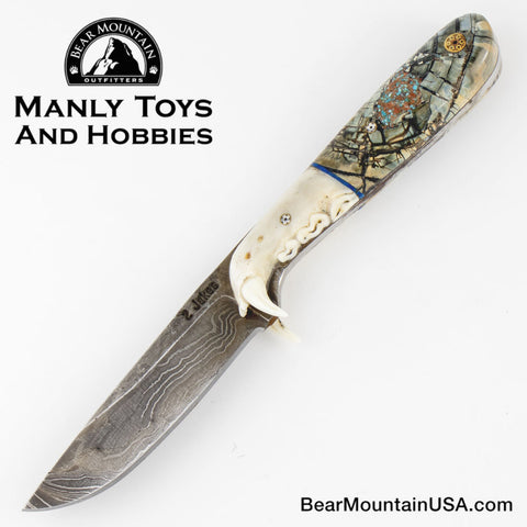 Jake2Jake #4282 Custom Hand Forged Damascus In Lynx Jaw And Mammoth Ivory